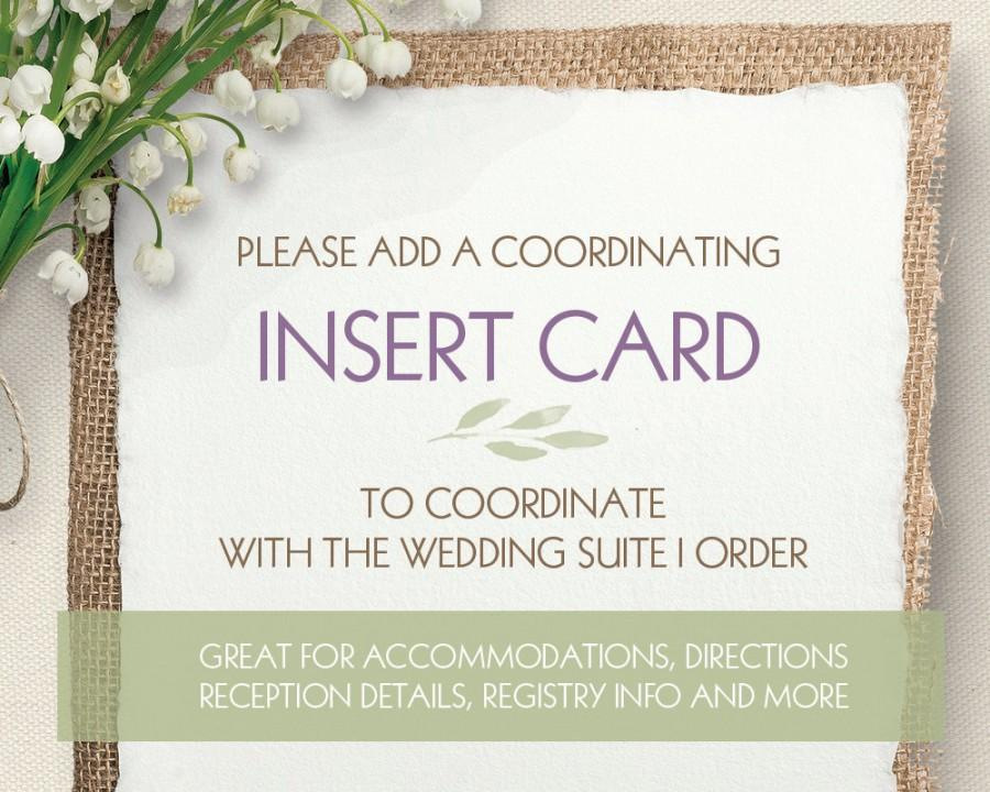 Hochzeit - ADD ON - Wedding Insert Cards Flat (Accommodations, Directions, Reception details, extra Info for your Guests) to Coordinate with any design
