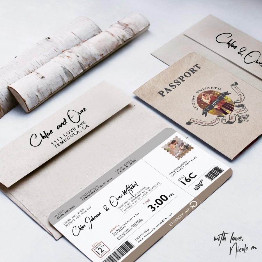 زفاف - Ticket Destination Passport Wedding Invitation 2016
