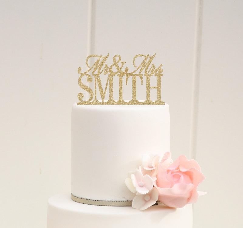 Mariage - Glitter Wedding Cake Topper Mr and Mrs Topper Design With YOUR Last Name - 0024