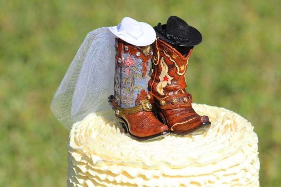 زفاف - Western Boot Cake Topper  -  shabby chic, outdoor, cottage chic