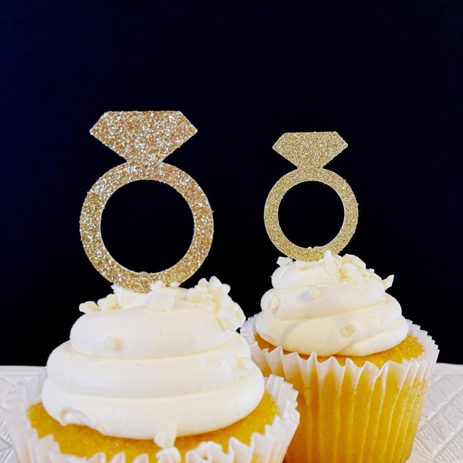 Mariage - Ring Cupcake Toppers - Cupcake Toppers - Engagement Party - Bridal Shower Decorations - Wedding Shower Decorations - Set of 12