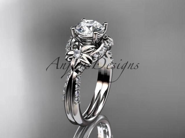 زفاف - Unique 14kt white gold diamond flower, leaf and vine wedding ring, engagement ring ADLR220