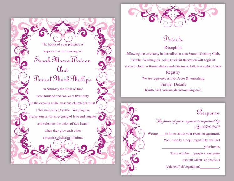 diy wedding invitation template set editable word file instant
