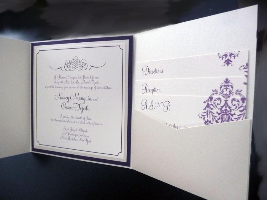 Wedding - Champagne Wedding Invitation / Purple and Dark Purple / Pocketfold Wedding Invitation / Champagne Damask Invite Sample