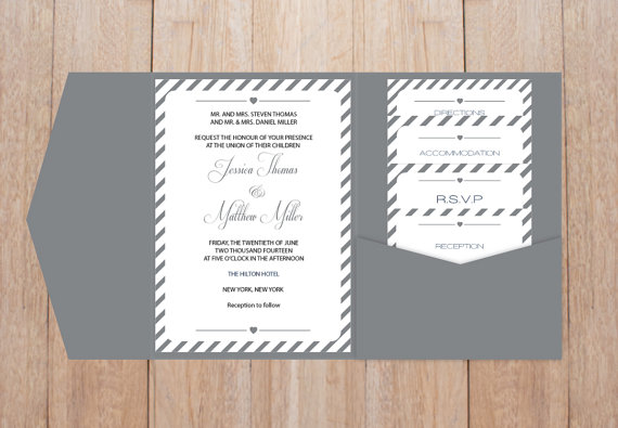 Diy Pocket Wedding Invitation Template Set Grey Carnival Stripes