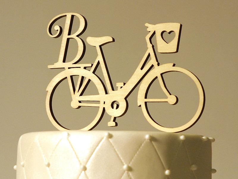 Mariage - Bike Bicycle Monogram Cake Topper - Letter of Your Choice