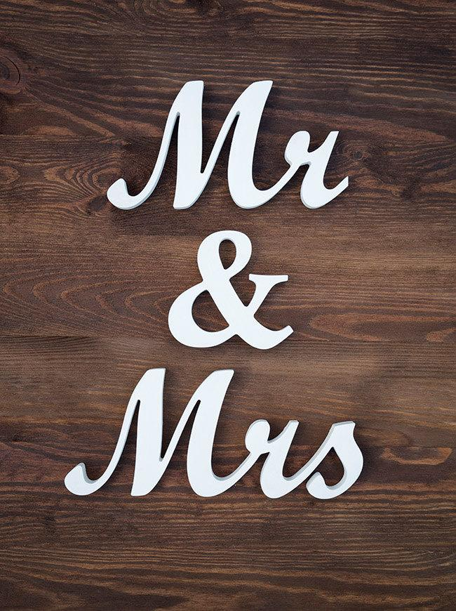 Mr And Mrs Wedding Sign Wooden Script Letters White Decor ...
