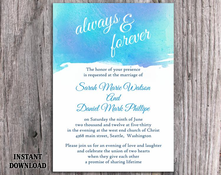 DIY Watercolor Wedding Invitation Template Editable Word File ...