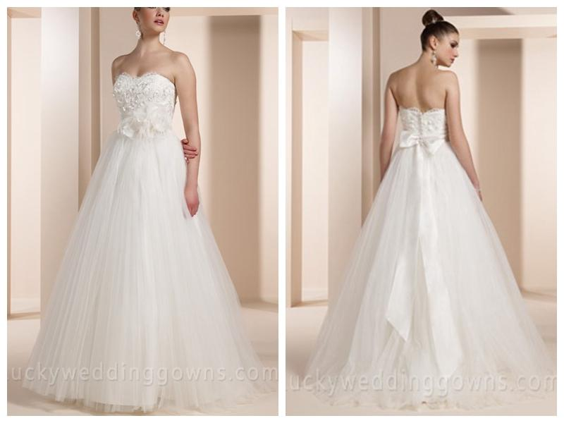 Crinkled Tulle Ball Gown Wedding Dress With 3D Floral Lace Overlay ...
