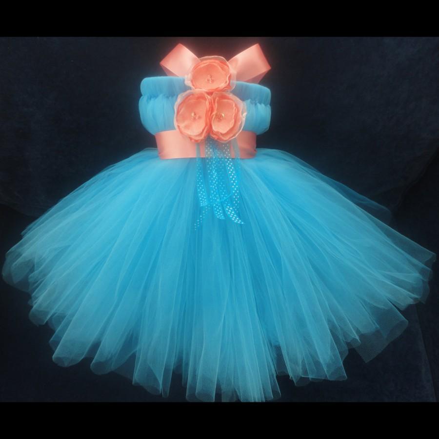 Flower Girl Dress, Little Girls Formal Dresses, Coral Turquoise ...