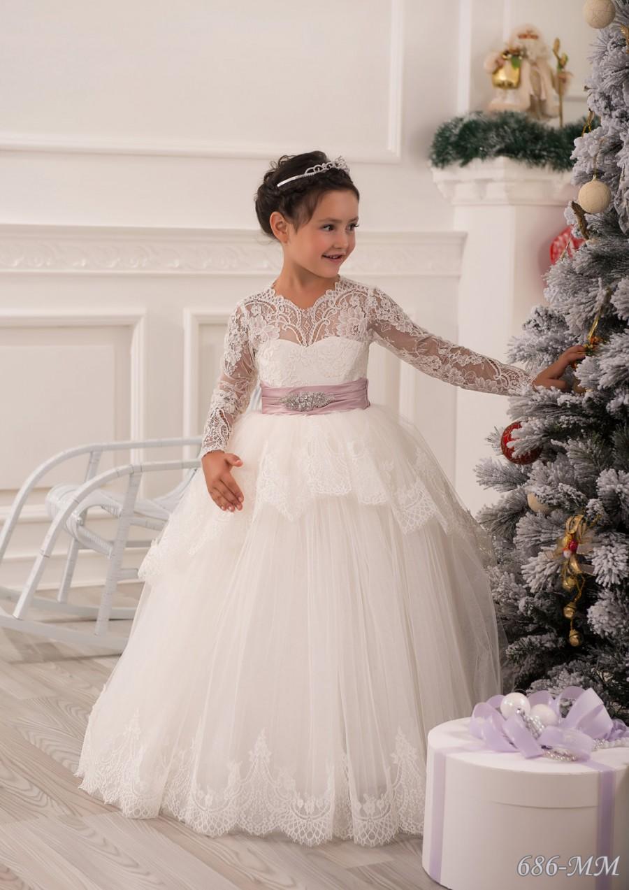 Свадьба - Lace Ivory Flower Girl Dress - Wedding Party Birthday Bridesmaid Holiday Ivory Lace Tulle Flower Girl Dress
