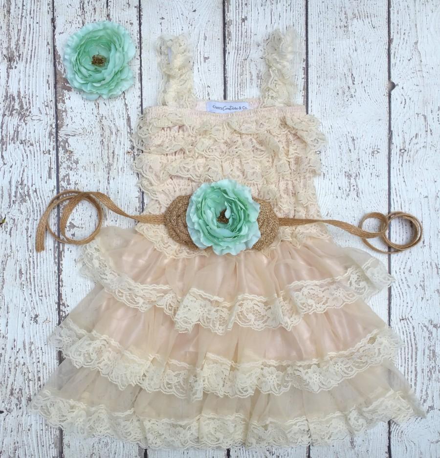 Свадьба - Mint And Burlap Flower Girl Dress-Lace Flower Girl Dress-Mint Flower Girl-Country Wedding-Burlap Sash-Mint Wedding-Girls Lace Dress