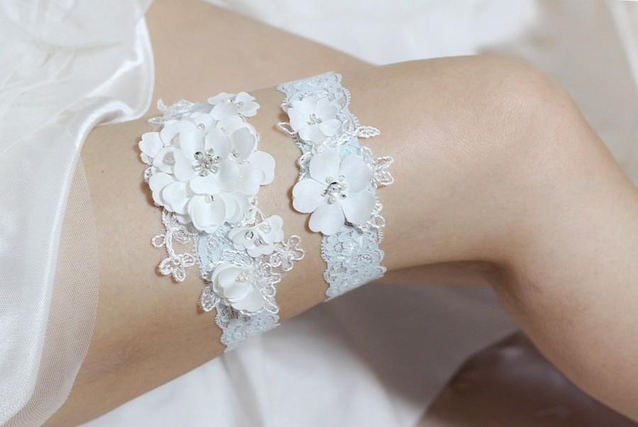 Wedding - Blue garter set, satin garter set, lace garter set, blue wedding garter set, satin floral garter set