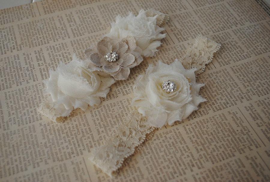 Свадьба - Burlap Wedding Garter, Cream Lace Garter, Cream and Burlap Garter