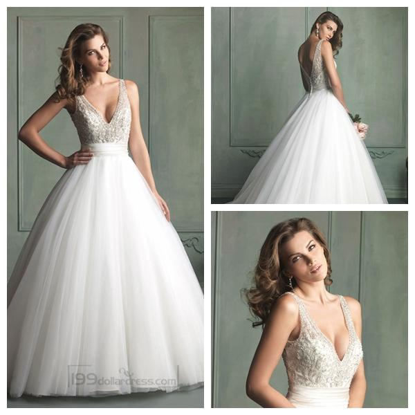 Deep V-neck And V-back Beaded Bodice Ball Gown Wedding Dresses ...