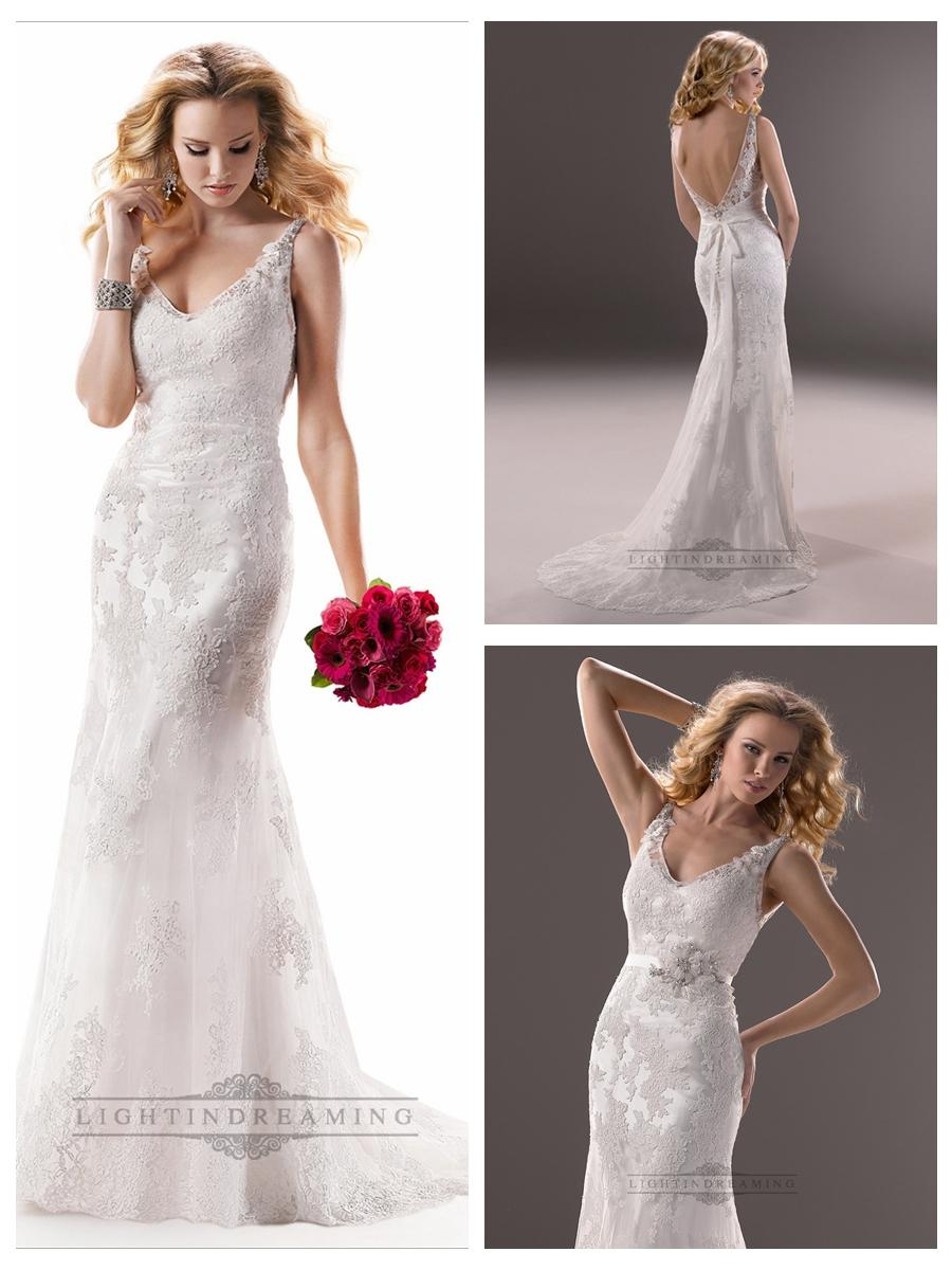 Mariage - Lace Sheath V-neck and V-back Embroidered Wedding Dresses with Beaded Straps