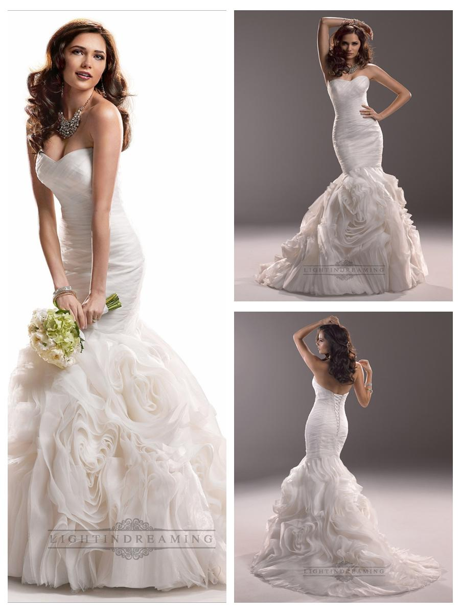 Mariage - Fit and Flare Ruched Sweetheart Wedding Dresses with Rosette Skirt