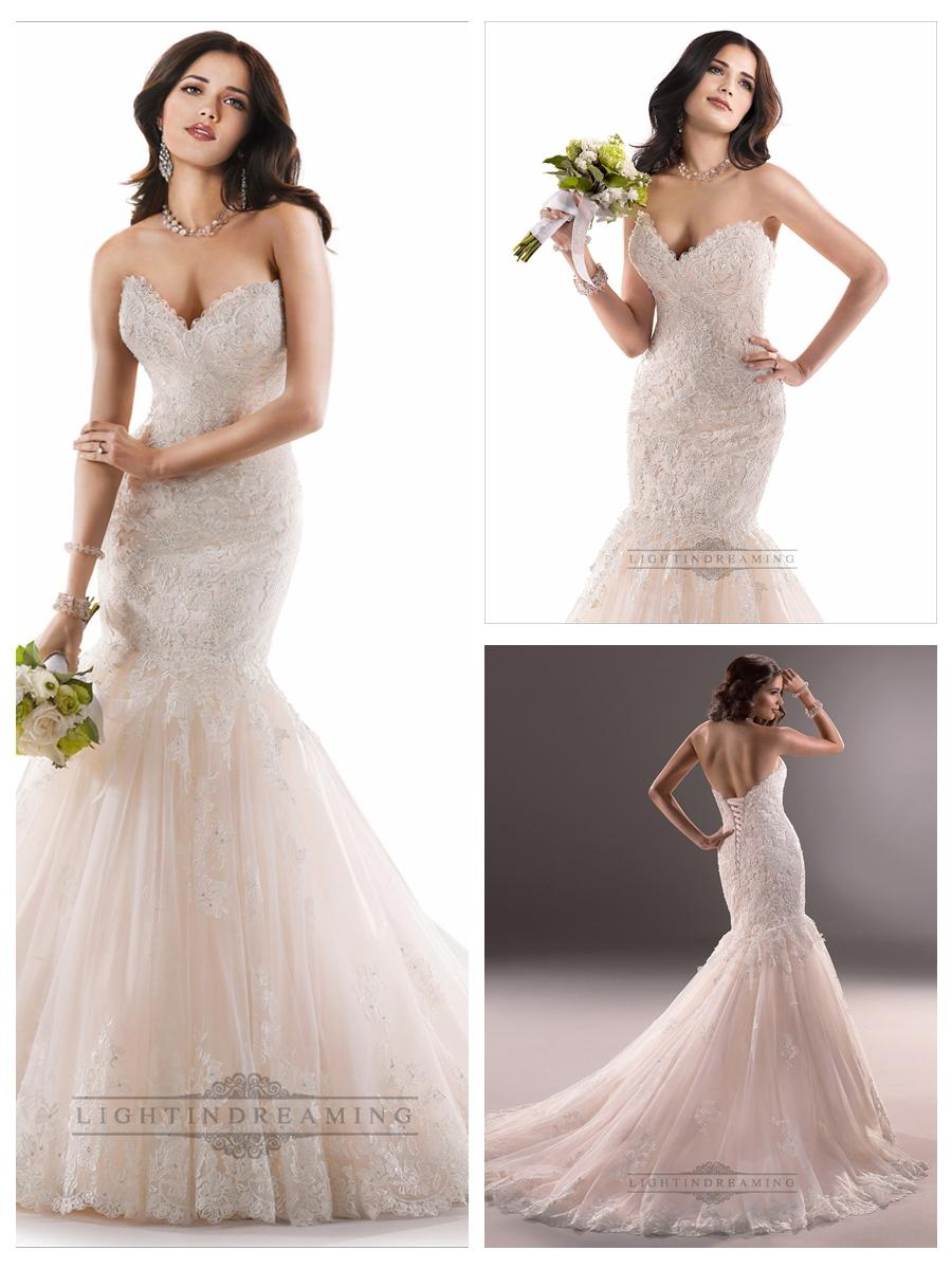 Mariage - Sweetheart Mermaid Lace Wedding Dresses with Corset Back