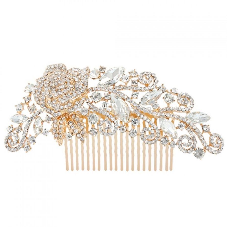 Hochzeit - Rose Gold Bridal Comb - Wedding Hair Comb - Rose Gold Bridal Jewelry - Bridal Hair Accessories - Rose Gold Hair Comb - Blush Pink Bridal A17
