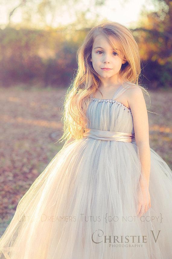 Свадьба - GREY Flower Girl Tutu Dress