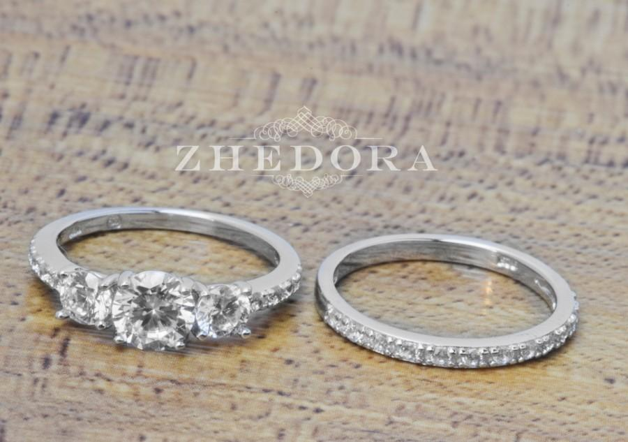 Wedding - Triple Stone Engagement Ring Set Sterling Silver With Accent Bridal Set, Wedding Set, Wedding Band And Ring, Ring Set zhebgr00461