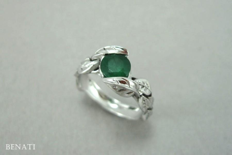 Wedding - Emerald Leaf Engagement Ring, Emerald Engagement Ring, Emerald Leaf Ring, Antique Emerald Leaves Ring, Emerald Antique Floral Forest Ring