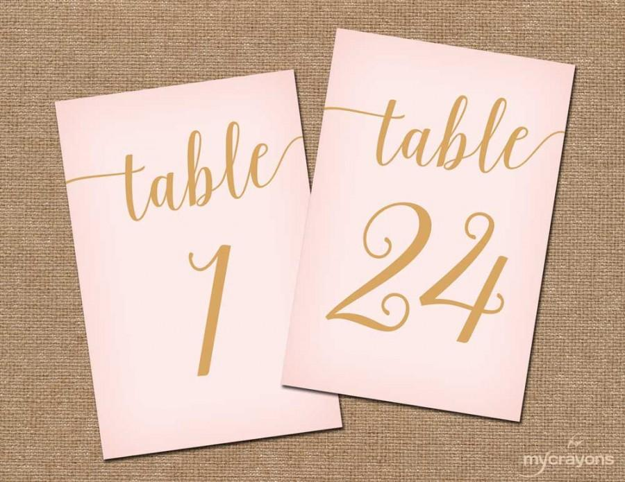 Instant Download Printable Table Numbers 1 30 Blush Pink And Gold