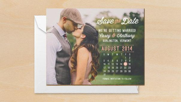Photo Calendar Save The Date Printable PDF Or Printed Cards - Save the date calendar template