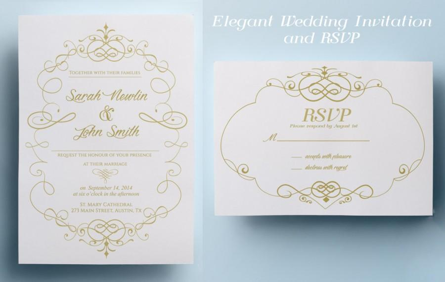 Elegant wedding invitation template classic wedding invitation elegant wedding invitation template classic wedding invitation design printable wedding invitation instant download premade gold wedding stopboris Image collections