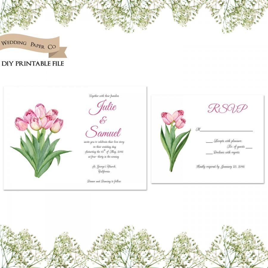 pink tulips floral printable wedding invitation and rsvp card diy