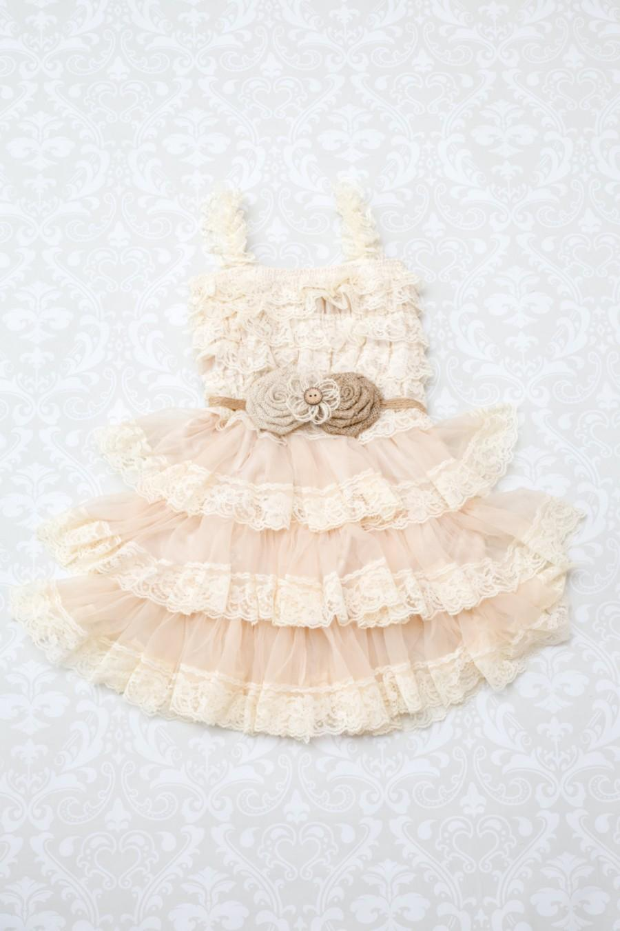 Свадьба - Rustic Burlap Flower Girl Dress-Burlap Roses-Country Flower Girl Dress-Burlap Flower Girl Dress-Burlap Lace Wedding-Country Wedding
