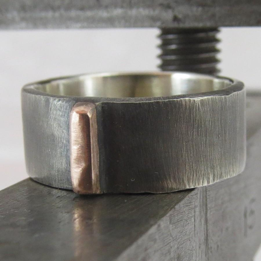 Wedding - Mens Wedding Ring Oxidized 9k Rose Gold and Sterling Silver Unusual Steampunk Band 6mm Design 01029