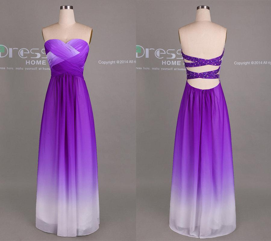 Свадьба - Purple Ombre Chiffon Long Bridesmaid Dress/Ombre Bridesmaid Dress/Sexy Party Dress/Beach Wedding Party Dress/Open Back Prom Dress DH414