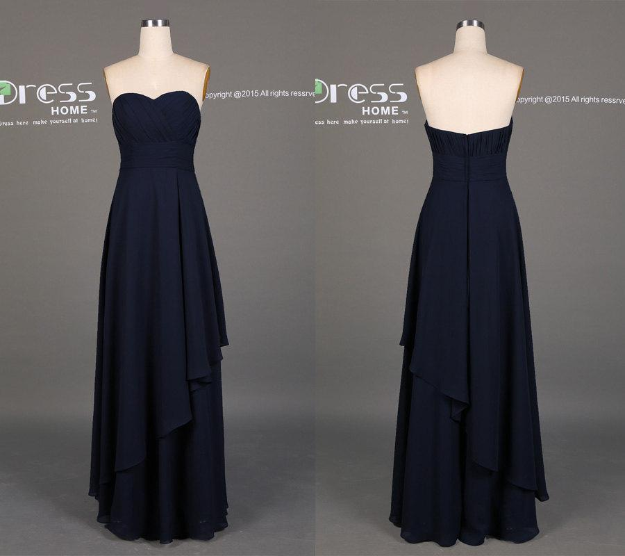 Simple Navy Sweetheart Long Bridesmaid Dress Dresses Chiffon Prom Beach Wedding Dh389