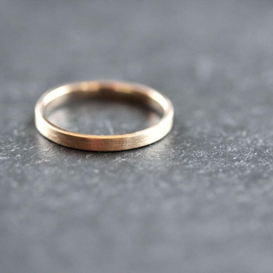 Gold Wedding Band Stackable Ring 2mm Slim Recycled 10k Yellow Brushed Or Stacking