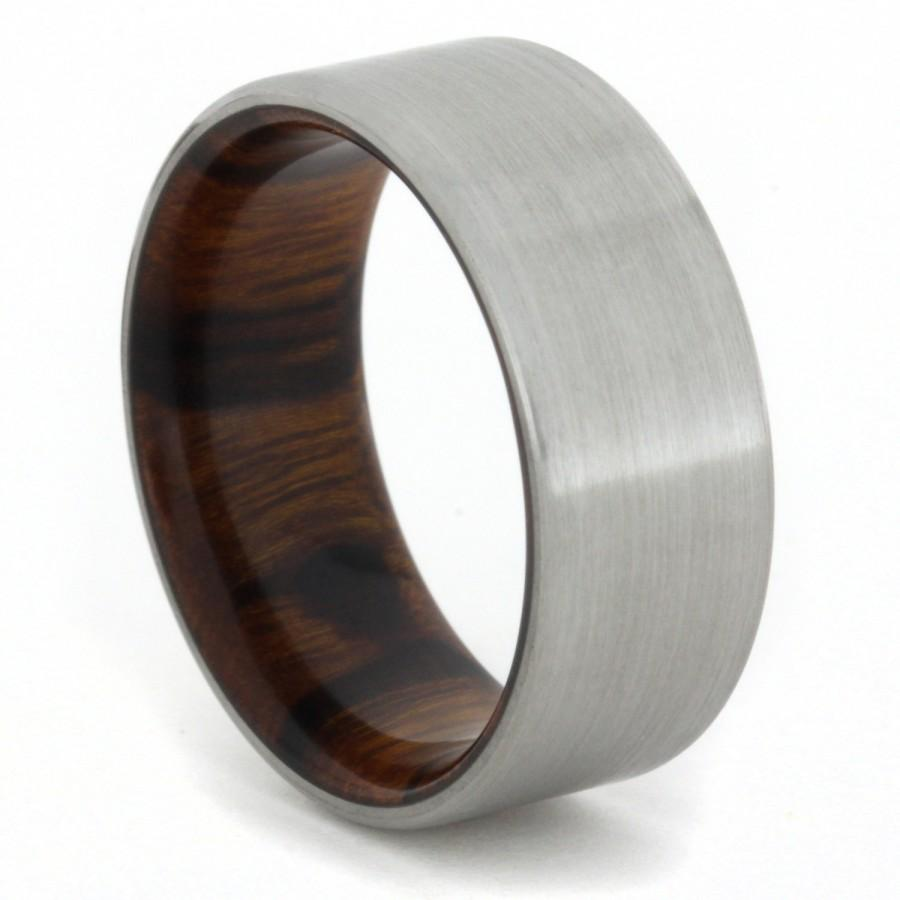 زفاف - Men's Titanium Band with Ironwood Sleeve, Ring Armor Included
