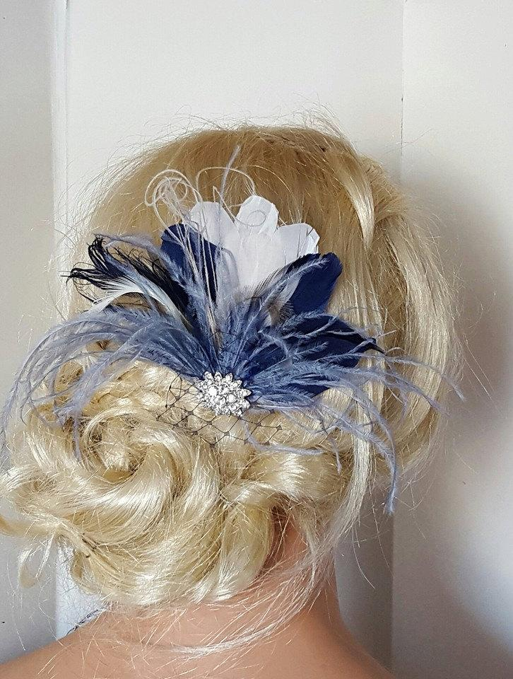 Navy Blue Hair Fascinator a9d38e876eb