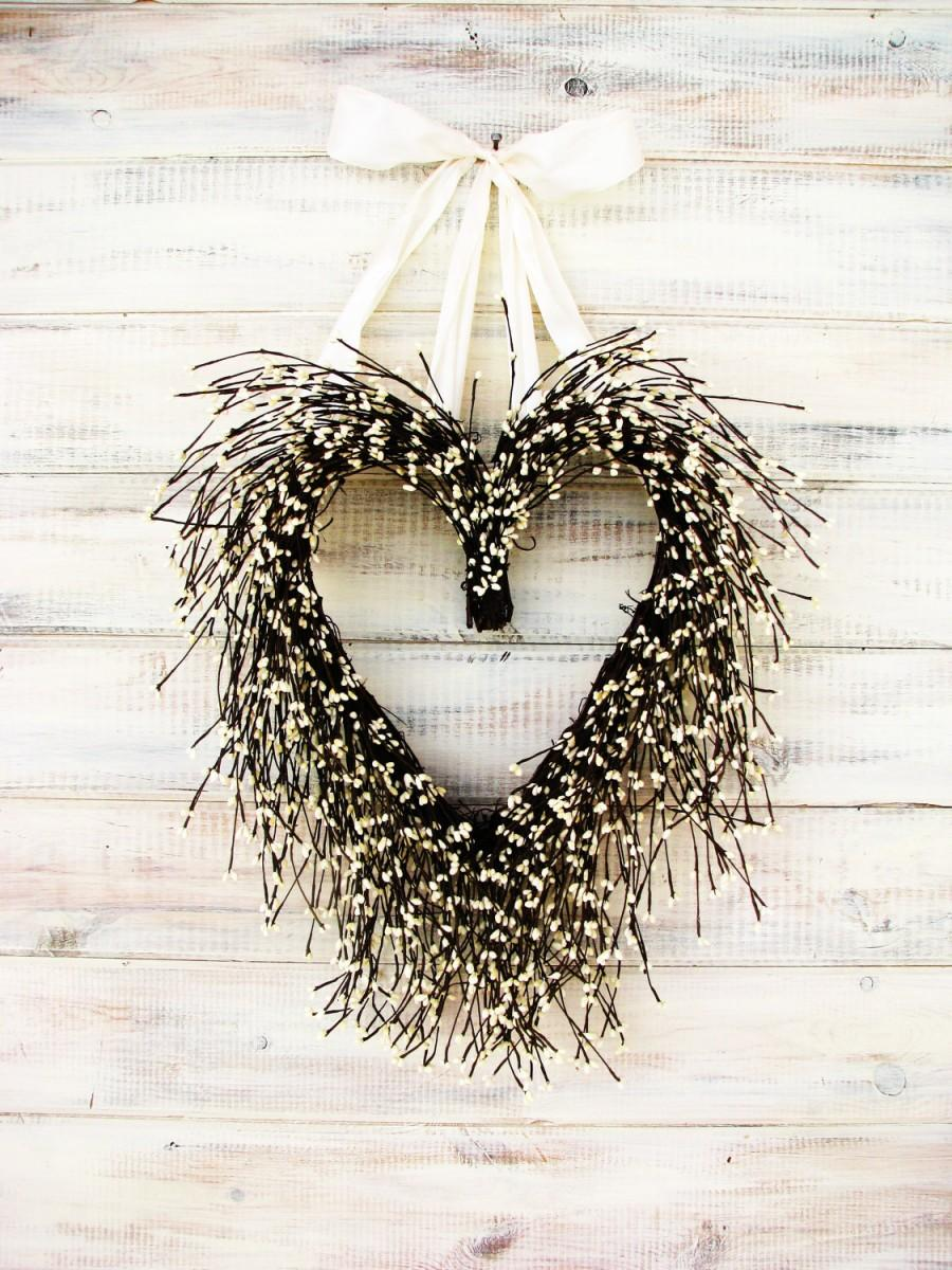 Wedding - Valentine Wreath-Wedding Wreath-Heart Wreath-Wedding Decor-Winter Wedding-WHITE HEART Wreath-Rustic Wedding-Vintage Farmhouse Wedding Decor