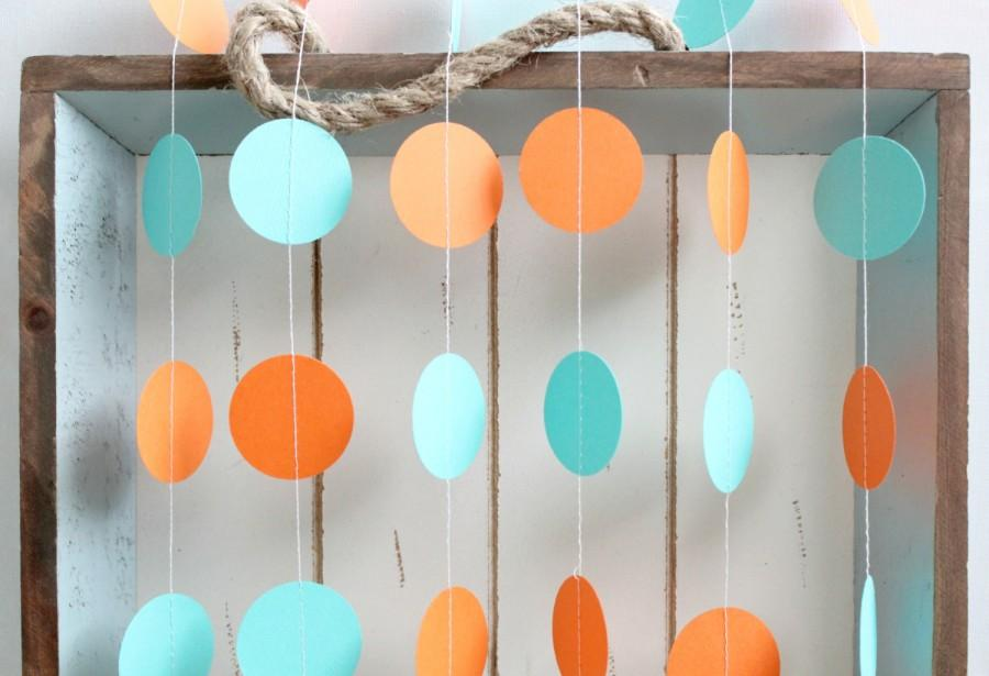 Mariage - Turquoise and Orange 12 ft Circle Paper Garland- Wedding, Birthday, Bridal Shower, Baby Shower, Party Decorations