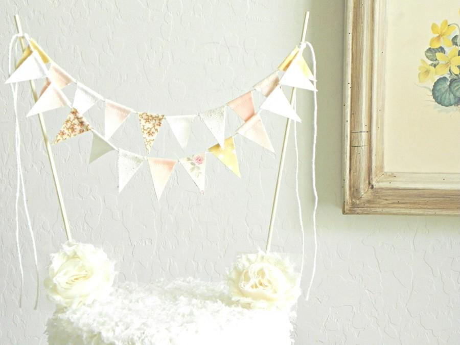 Rose Gold Champagne Lace And Burlap Fabric Bunting Cake Topper