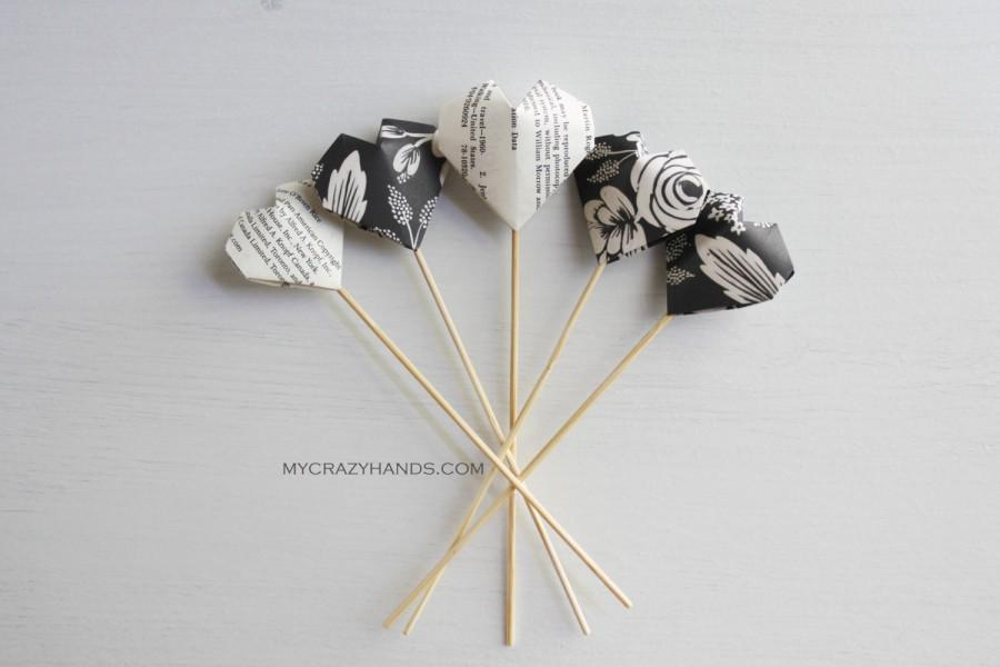 6 Origami Wedding Cake Toppers Anniversary Picks Party Table Decorations Black Roses Book Pages