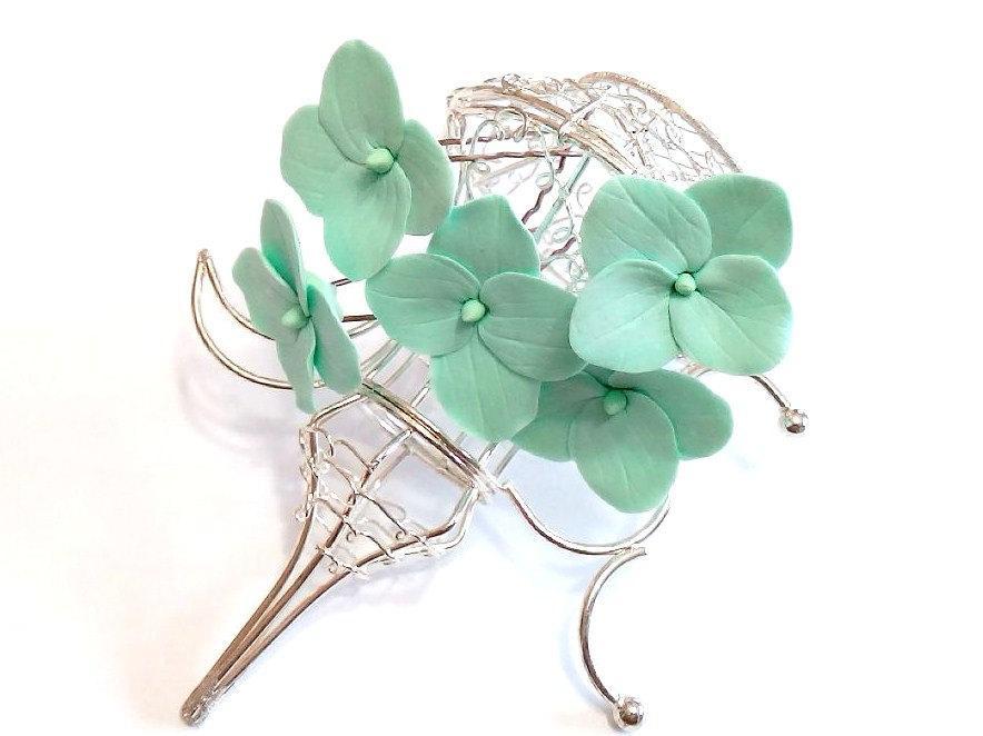 Hochzeit - Mint Hydrangea -  Floral accessories - Hydrangea accessories Wedding Hair Accessories, Wedding Hairstyles Hair Flower - Set of