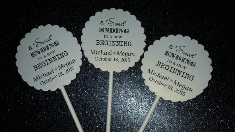 Wedding - Wedding Engagement Cupcake/Cake Toppers SWEET Ending to a NEW Beginning~ Black and White  Large Scalloped Personalized *SHIMMER* Set of 50