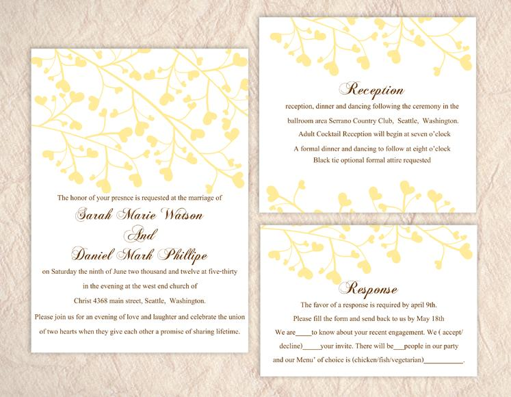 Printable wedding invitation suite printable invitation yellow printable wedding invitation suite printable invitation yellow wedding invitation heart invitation download invitation edited jpeg file stopboris Image collections