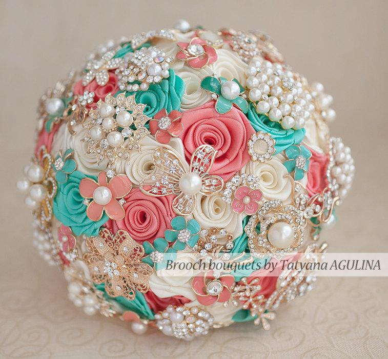 Wedding - Brooch bouquet. Coral, Ivory and Mint wedding brooch bouquet, Jeweled Bouquet. Made upon request