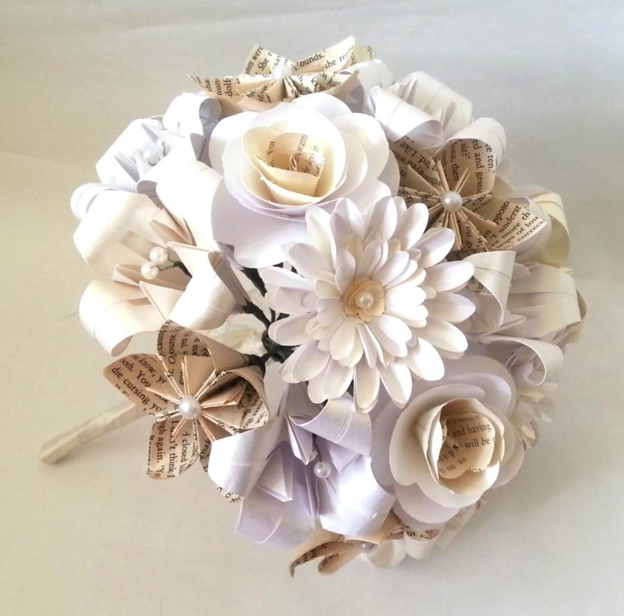 Paper flowers origami bouquet wedding bridal alternative roses paper flowers origami bouquet wedding bridal alternative roses gerbera lily kusudama book pages white cream mightylinksfo