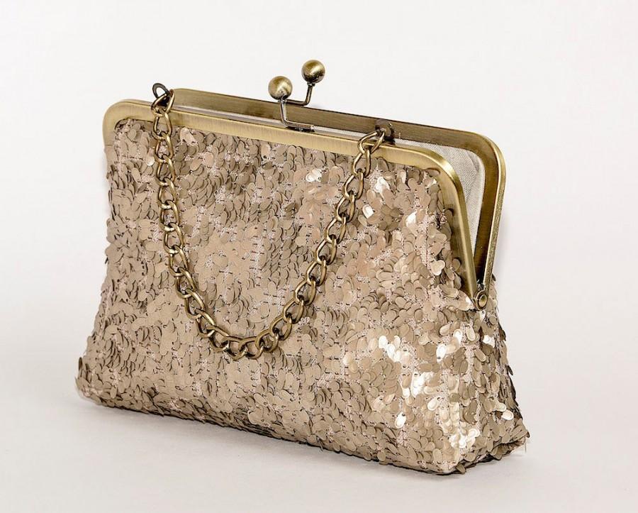 Hochzeit - Sequin gold bag clutch, metallic purse, Bridesmaids Clutch, Wedding clutch, Formal clutch, Party purse, BagNoir clutch