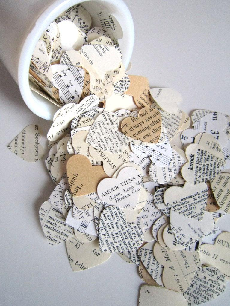 Wedding - Romantic Heart Confetti / vintage wedding decor . paper hearts old book pages