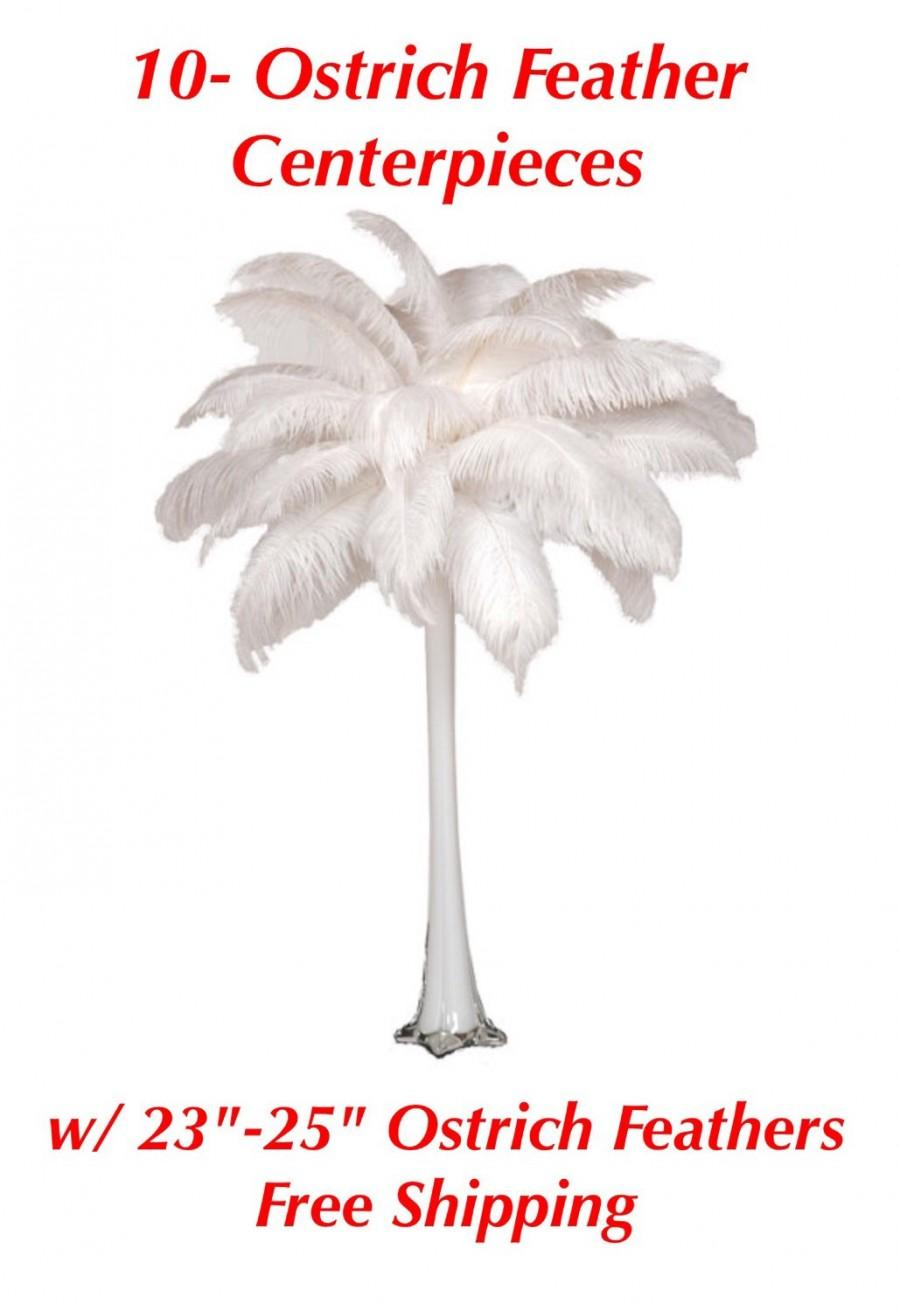 10 ostrich feathers centerpieces w 23 25 feathers and free