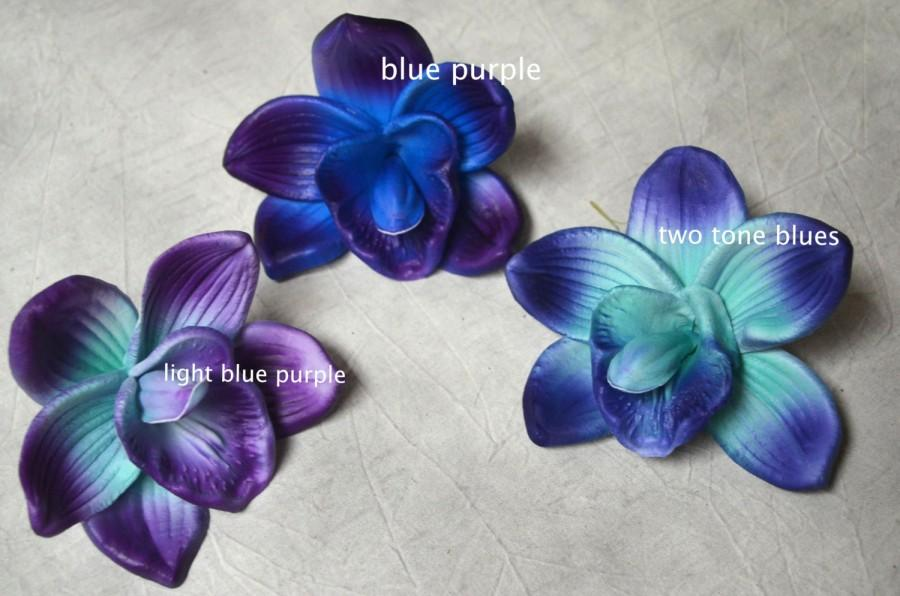 Blue Purple Orchid Blooms Cake Toppers Decoration Flowers White